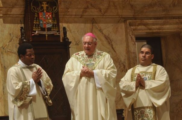 Bishop Nicholas DiMarzio of Brooklyn, N.Y., celebrates Mass to pray for resolution to Dominican Republic's threat to deport Haitians